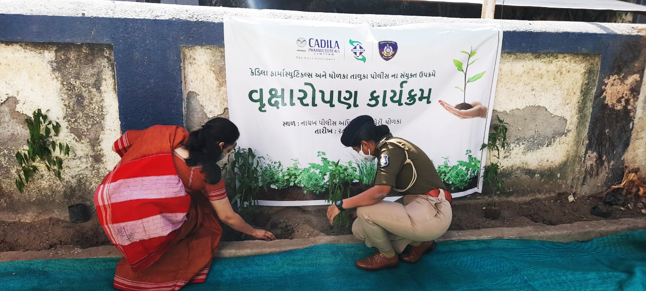 Tree Plantation Drive by Cadila Pharma and Dholka Taluka Police