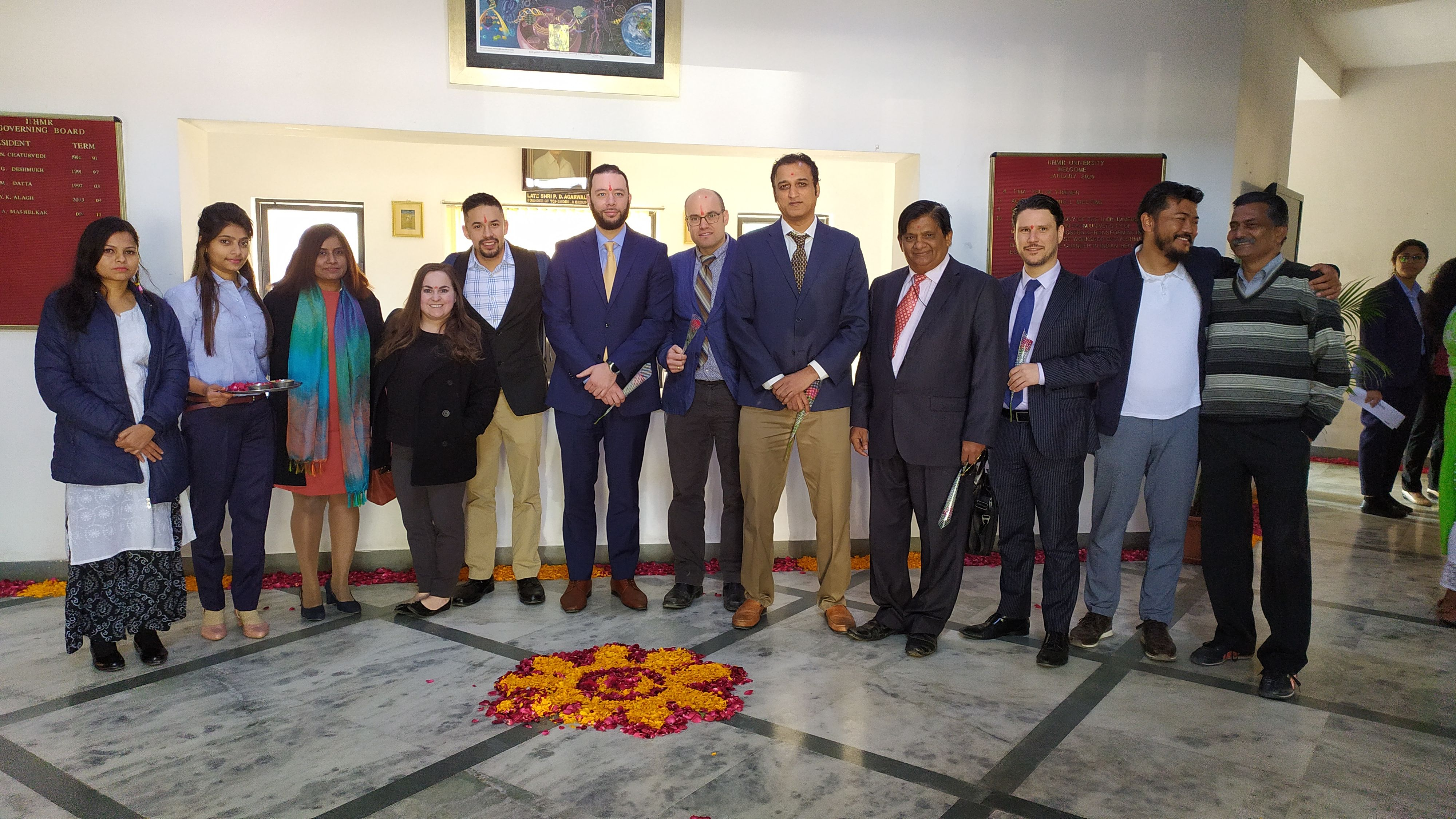 The Inaugural Ceremony of the India Immersion Visit of a student delegation from the University of Massachusetts Boston took place on 10 January 2020, at IIHMR University