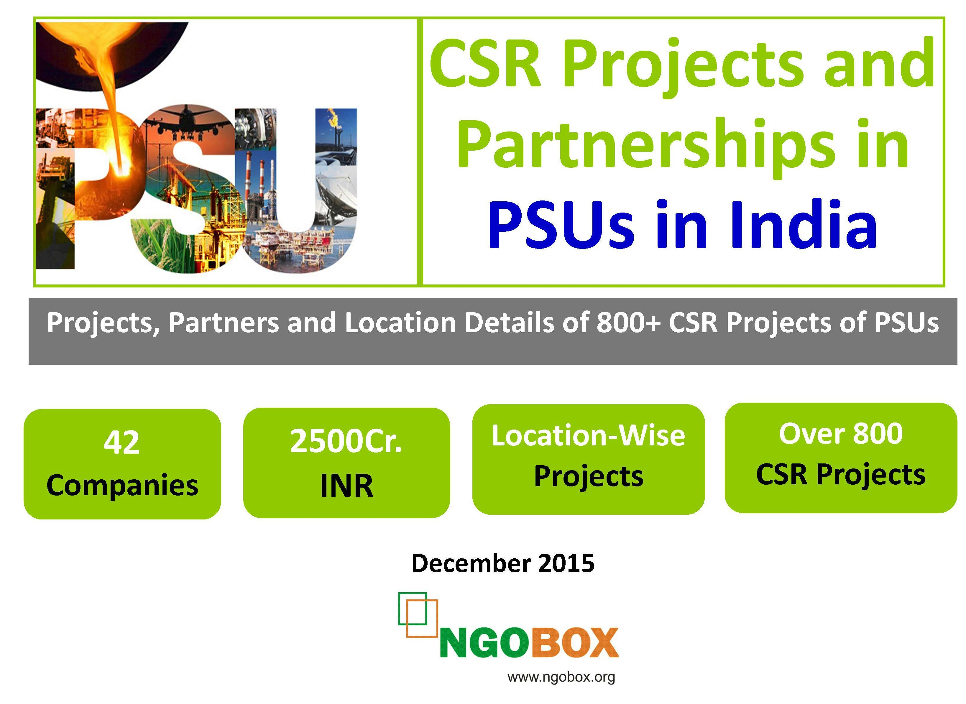 CSR Projects and Partnerships in  PSUs in India