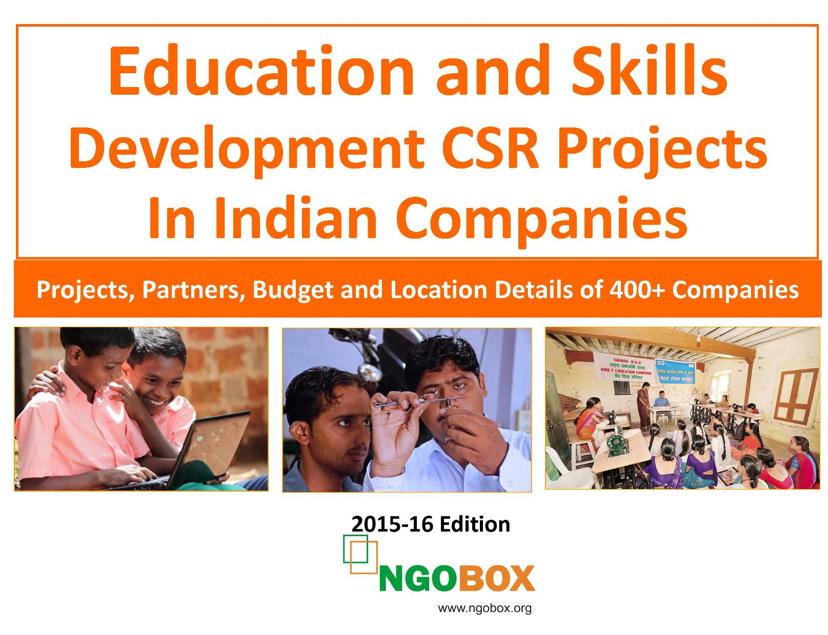 Education and Skills Development CSR Projects in Indian Companies