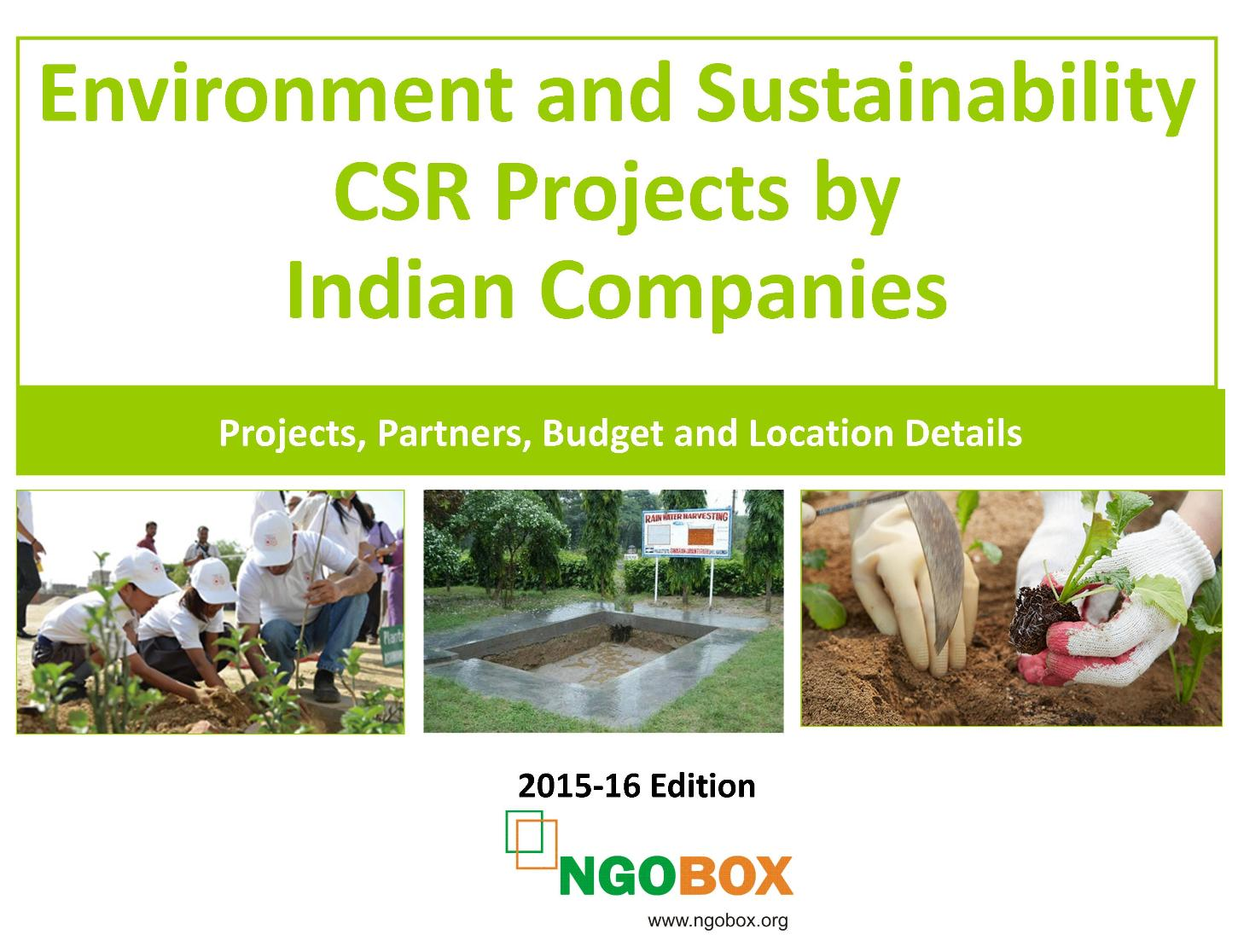 Environment and Sustainability CSR Projects by Indian Companies