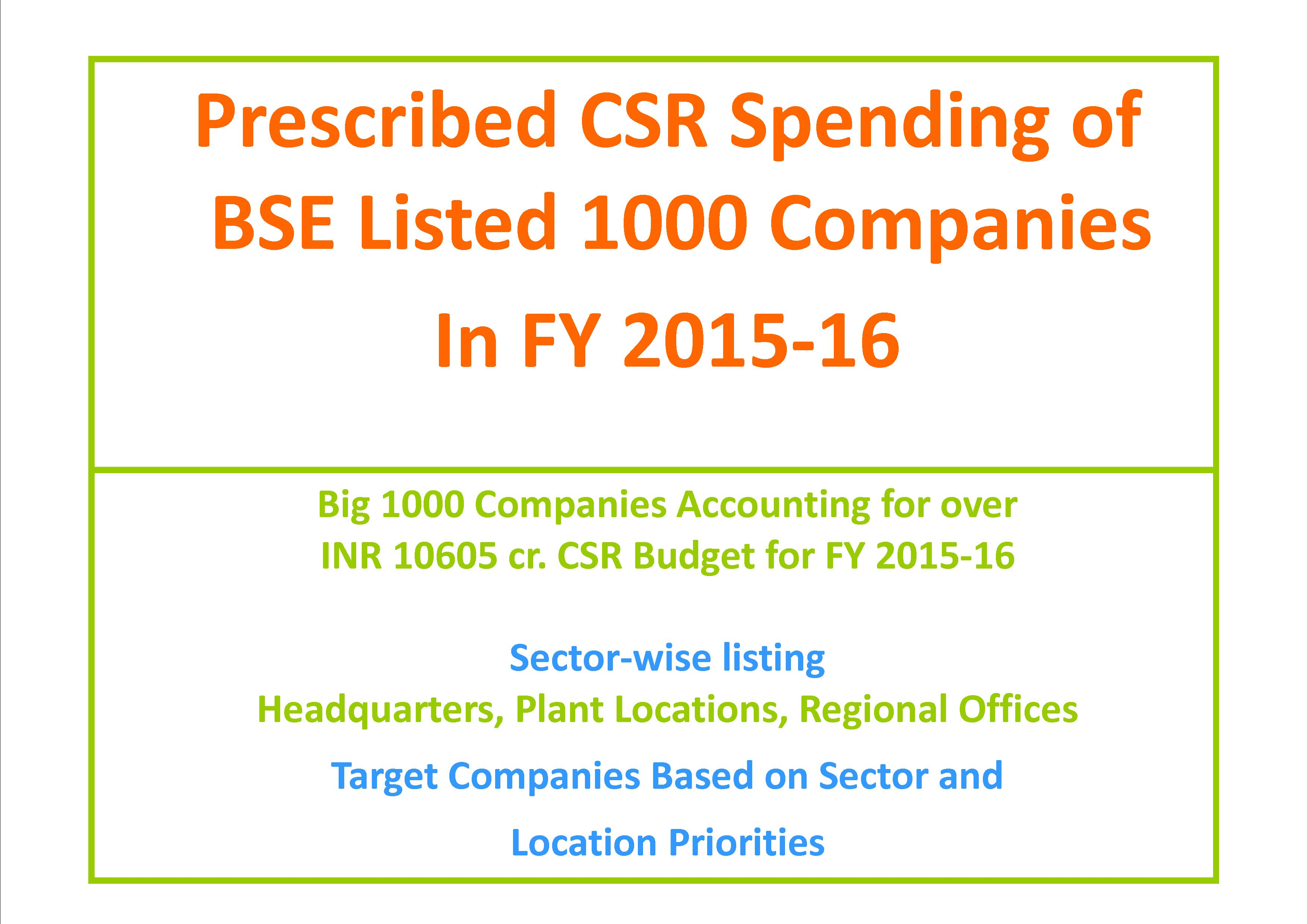Prescribed CSR Spending Budget of Big 1000 Companies in FY 2015-16