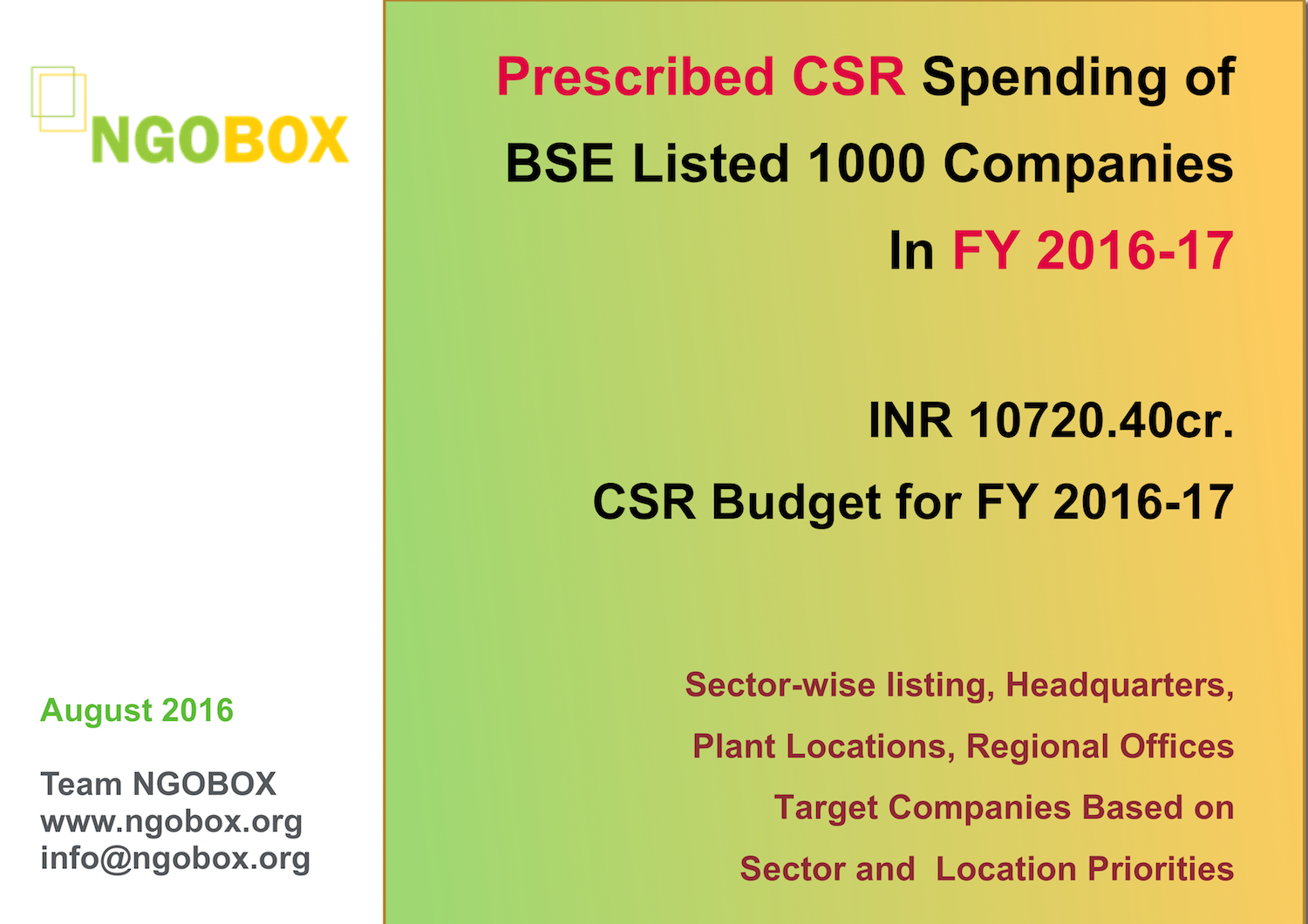 Prescribed CSR Spending Budget of Big 1000 Companies in FY 2016-17