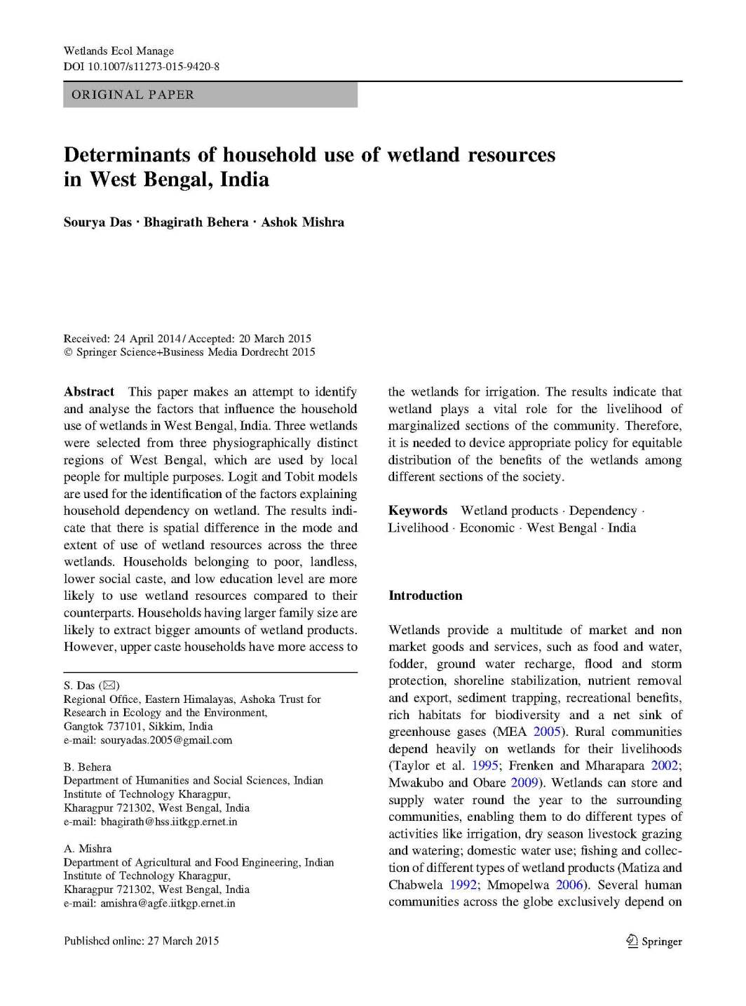 Determinants of household use of wetland resources in West Bengal, India